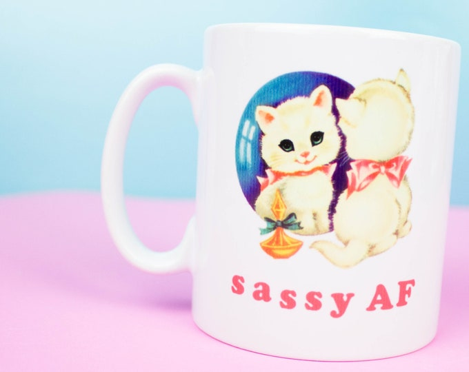 Sassy AF mug, happy coffee , back can be personalised