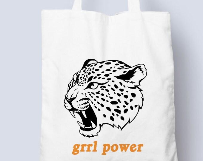 Grrl Power tote bag, cotton tote bag shopper, girl power, tiger, grrl power, feminist, feminism