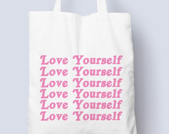 Love yourself cotton tote bag, self love, female empowerment, love yourself cotton tote bag