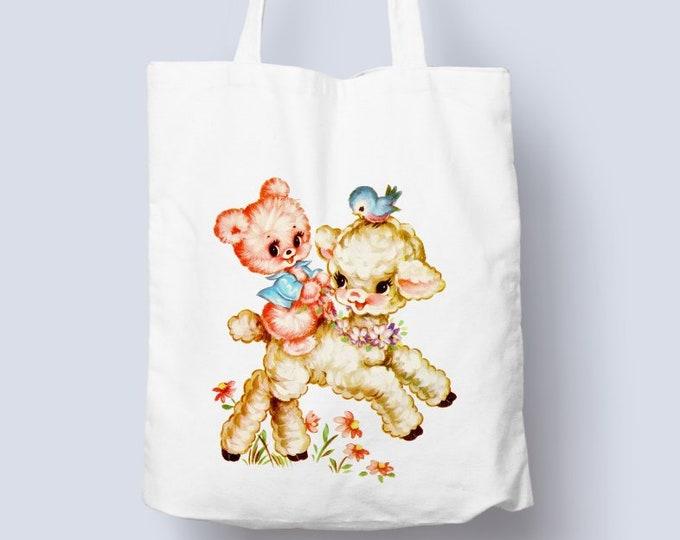 Vintage adorable illustration on tote bag, cotton tote shopper bag, vintage retro tote bag