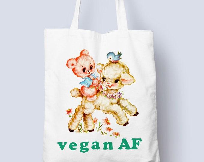 Vegan AF tote, total vegan little dude with his lamb friend, vegan tote bag, Vegan tote bags, plant based cute