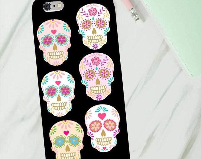 Sugar skull phone case phone case for Iphone or Samsung phones, Pink and pastel sugar skulls print iphone case