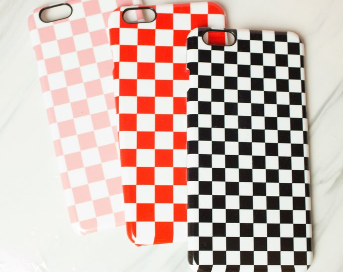 Chequered print phone case for Iphone or Samsung phones, chequered black, white, pink or red phone case