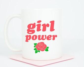 Girl Power personalised mug, coffee mug with girl power, can be personalised on back