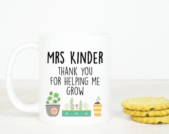 Personalised Teacher mug, Thank you for helping me grow coffee mug, lovely teacher gift, sweet present