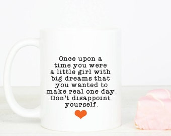 Dream quote, girl boss, personalised back, lovely happy motivational gift mug, for birthday or yourself