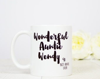 Personalised Wonderful Auntie mug, lovely personalised Auntie gift mug for birthday or even a birth announcement