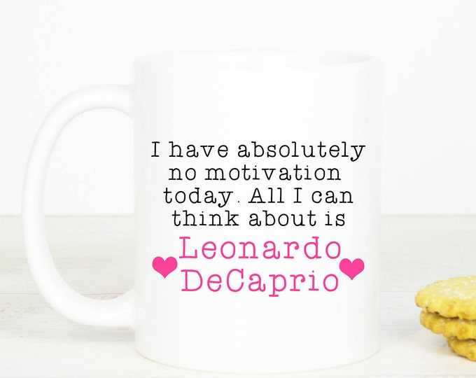 Leonardo DeCaprio mug, Personalised back, lovely Leo fangirl mug