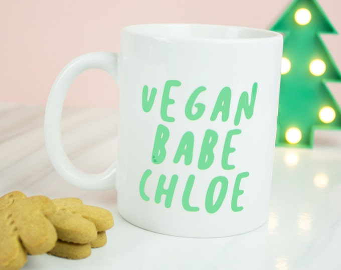 Vegan Babe mug, personalised vegan babes personalised vegan babe coffee mug
