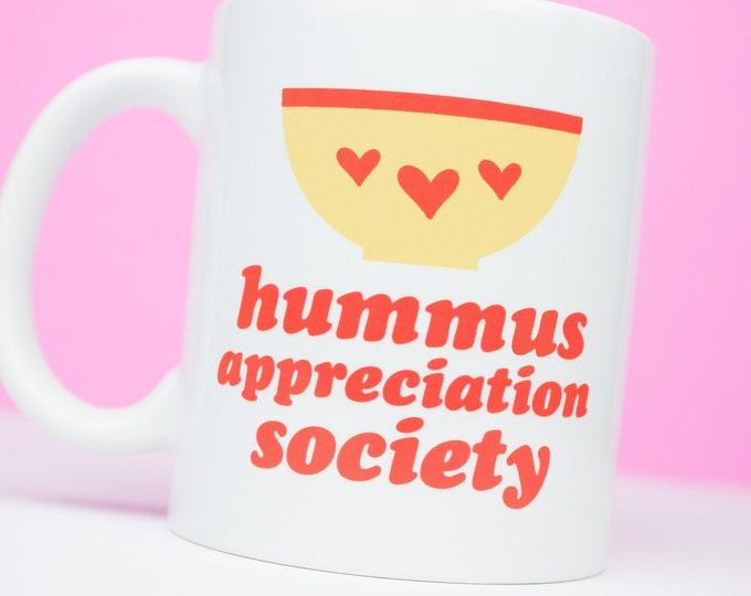 Hummus appreciation personalised society mug, for hummus lovers everywhere, hummus for life, personalised hummus mug