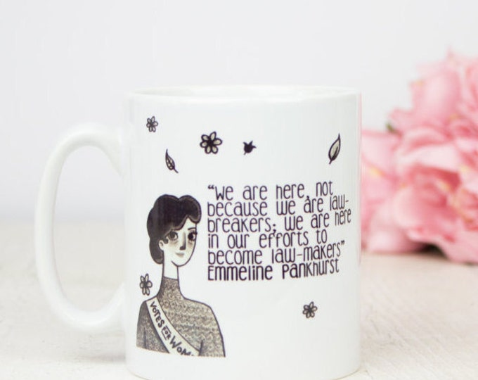 Feminist suffragette Emmeline Pankhurst gift mug, lovely feminism girl power gift