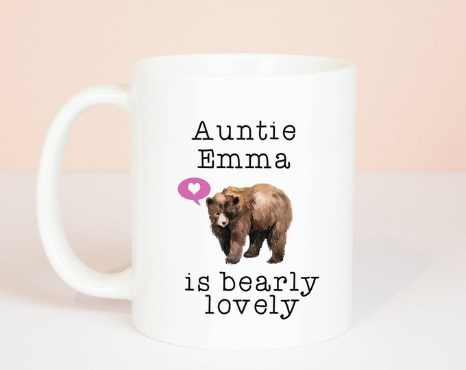 Personalised Auntie gift mug, lovely Auntie bear mug, personalised with name, lovely birthday gift, can be personalised to Aunty, Aunt etc