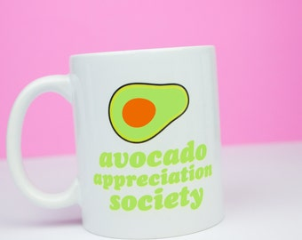 Avocado appreciation society mug, for avocado fans, personalised back