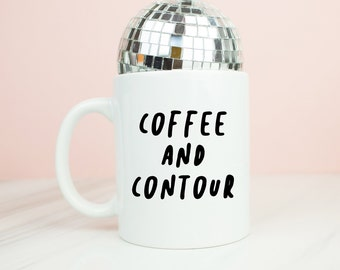 Coffee and contour mug, personalised back, make up contour coffee mug, beauty, make-up gift, pink or back