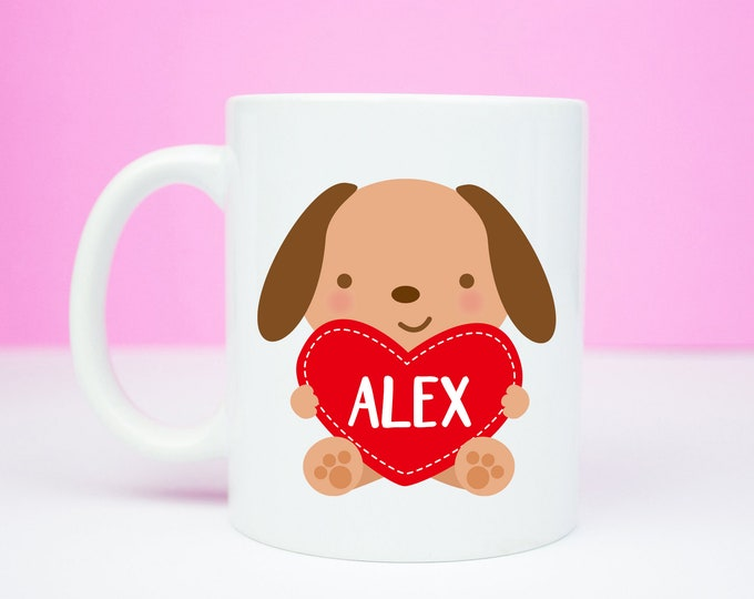 Kitsch personalised dog mug, quirky mug, galentines, anniversary or valentines