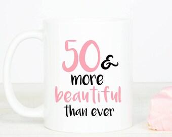 50 & more beautiful mug, personalised lovely 50th birthday mug, fifty gift