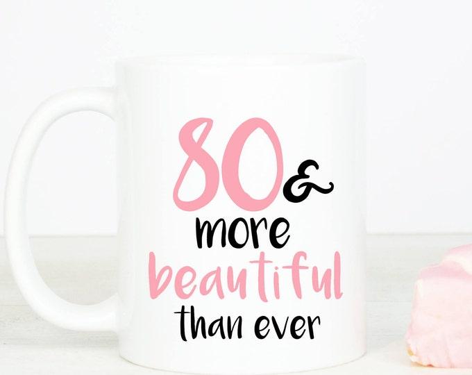80 & more beautiful mug, personalised lovely 90th birthday mug, ninety