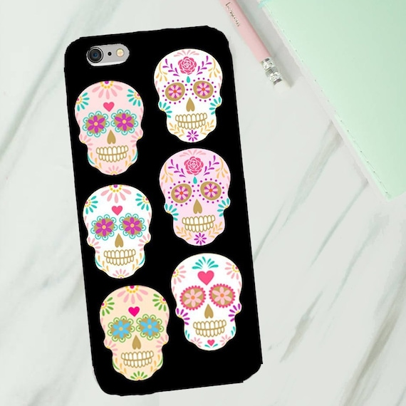 Sugar skull phone case phone case for Iphone or Samsung phones, Pink and pastel sugar skulls print iphone case