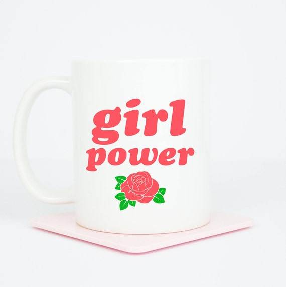 Girl Power personalised mug, coffee mug with girl power, can be personalised on back