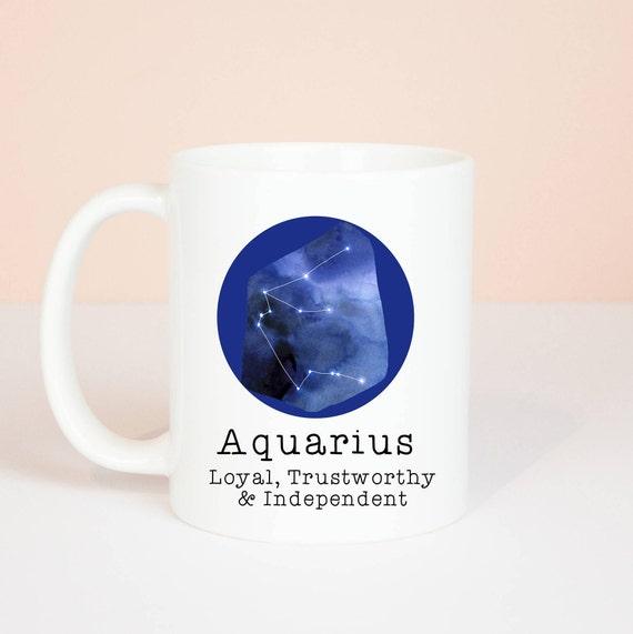 Aquarius mug, Personalised back, lovely star sign Aquarius mug, January 20 to February 18