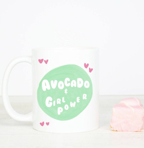 Avocado and Girl Power mug, personalised back, cute and quirky, lovely coffee mug for avocado, girl power