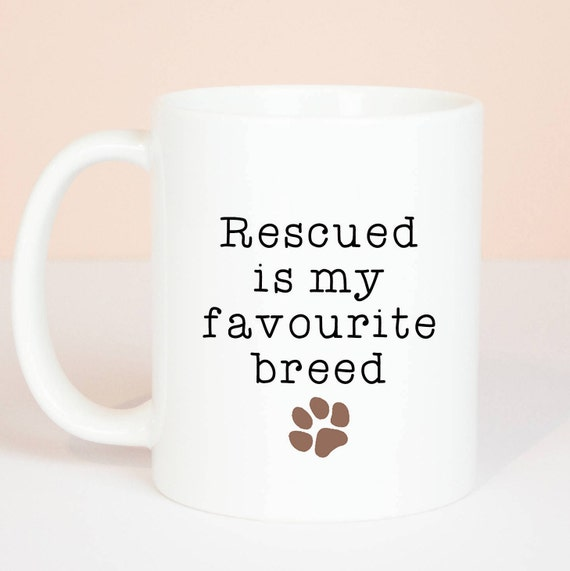Rescued dog mug, Personalised back, lovely dog gift mug, rescued dogs and cats are amazing, such lovely pets