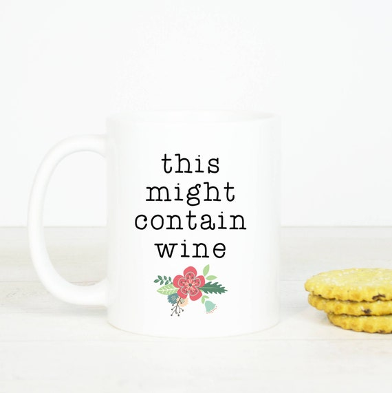 Personalised This might contain wine mug, funny wine mug, great birthday gift for her, friend, sister, funny mugs