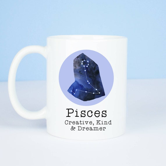 Pisces mug, Personalised back, lovely starsign Pisces mug, February 18 – March 20