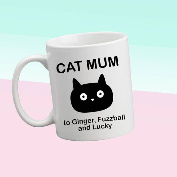 Personalised Cat Mum or Cat Dad to personalised with cats names, cute mug for a cute cat mum with your cat or cats names