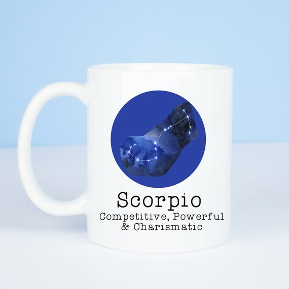 Scorpio mug, Personalised back, lovely star sign Scorpio mug, October 23 to  November 22