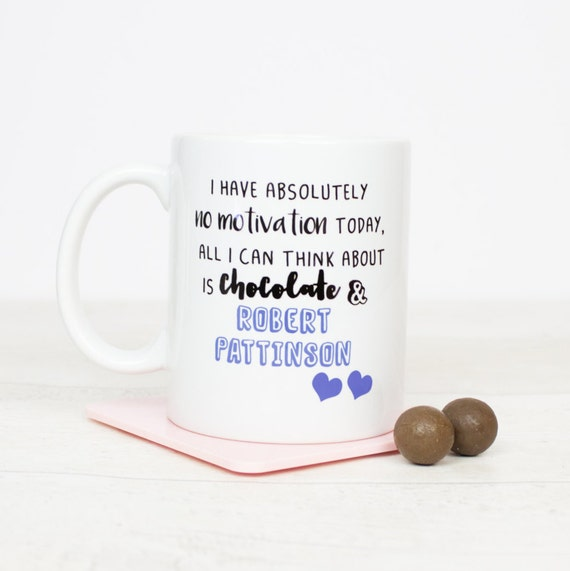Robert Pattinson and Chocolate mug. Lovely gift for anyone who loves Robert Pattinson, yes he was lovely in twilight