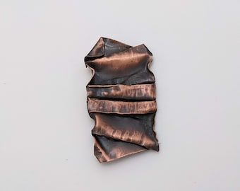 Abstract folded geology inspired copper brooch for men or women