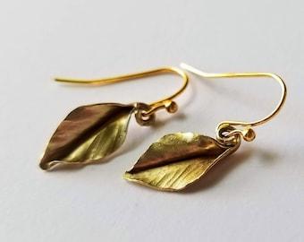 Tiny brass leaf earrings- goldtone, petite, delicate, leafy, garden club, simple, elegant