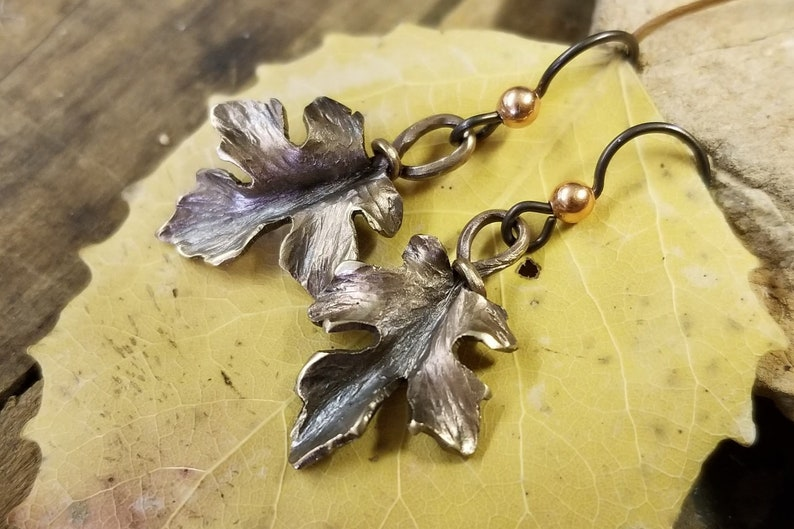 Forged and Repoussed Bronze Maple Leaf Earrings image 0