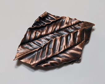 Foldformed corrugated abstract copper brooch for a man or woman