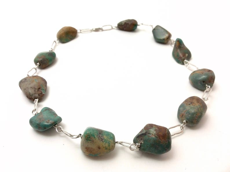 Chunky turquoise and silver choker style necklace image 0