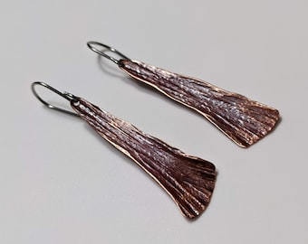 Narrow long hammered copper dragonfly wing earrings
