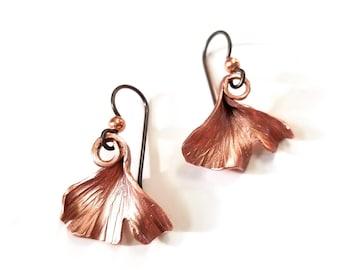 Copper ginkgo leaf earrings handmade in Michigan- coppersmith, leafy, fairy, renfest, sca, larp