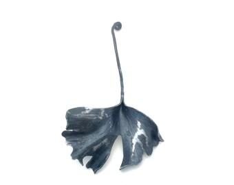 Forged steel ginkgo leaf art (inv G3)