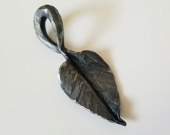 Handforged Steel Ivy Leaf Pendant, blacksmith jewelry, shaman pendant
