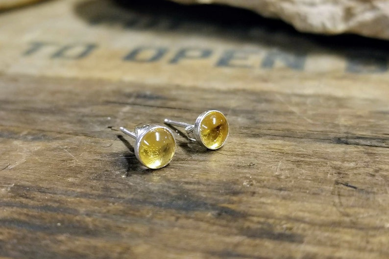 Sterling silver citrine 5 mm stud earrings November image 0