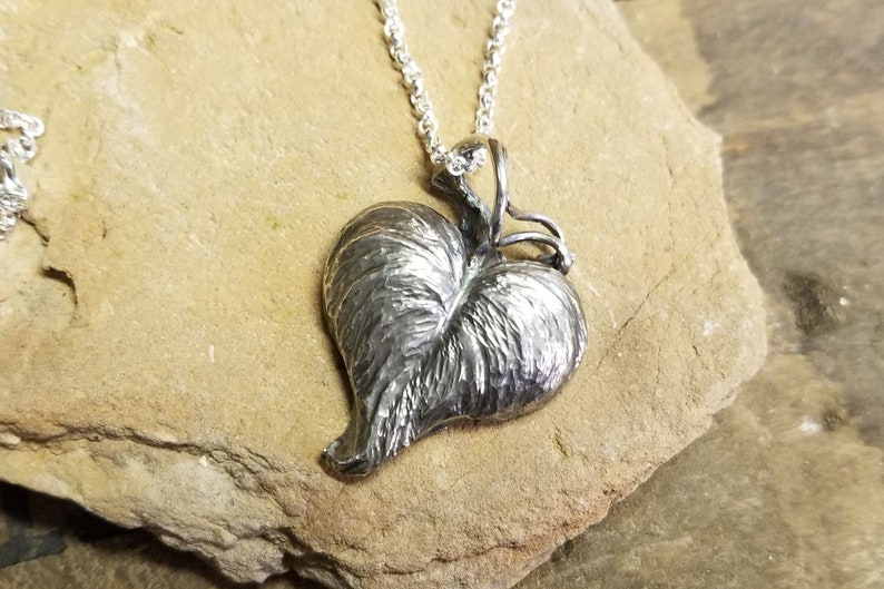 Sterling silver morning glory leaf pendant on a 24 inch image 0