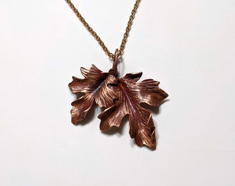 Forged copper double maple leaf pendant on a 24 inch chain