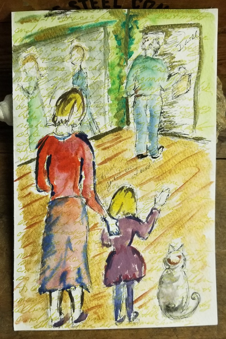 Traditional Family watercolor drawing on paper 8.5 by 55 image 0