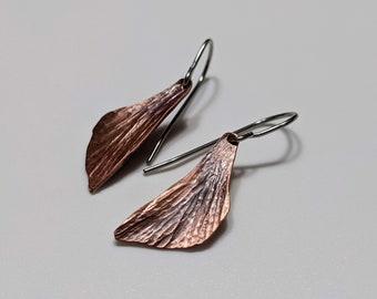 Hammered copper butterfly wing earrings