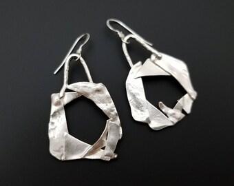 Abstract funky  fused sterling silver geometry moon earrings