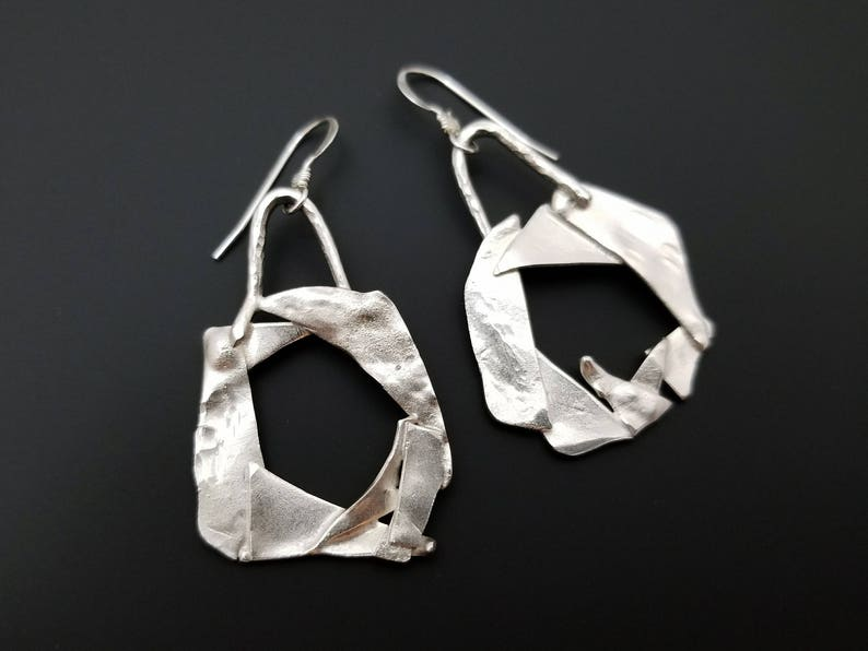 Abstract funky  fused sterling silver geometry moon earrings image 0