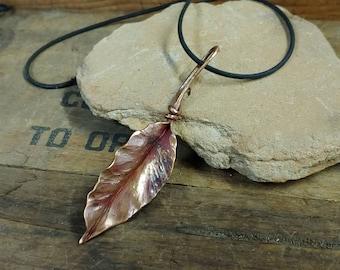 Forged copper leaf pendant or keyfob
