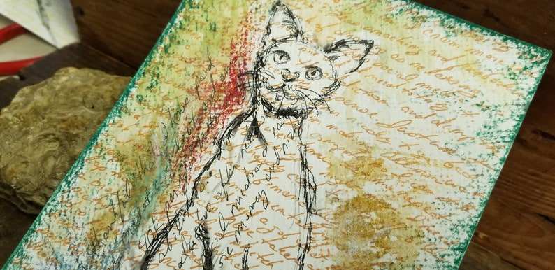 Your magic cat pen and watercolor drawing on paper 8.5 by 55 image 0