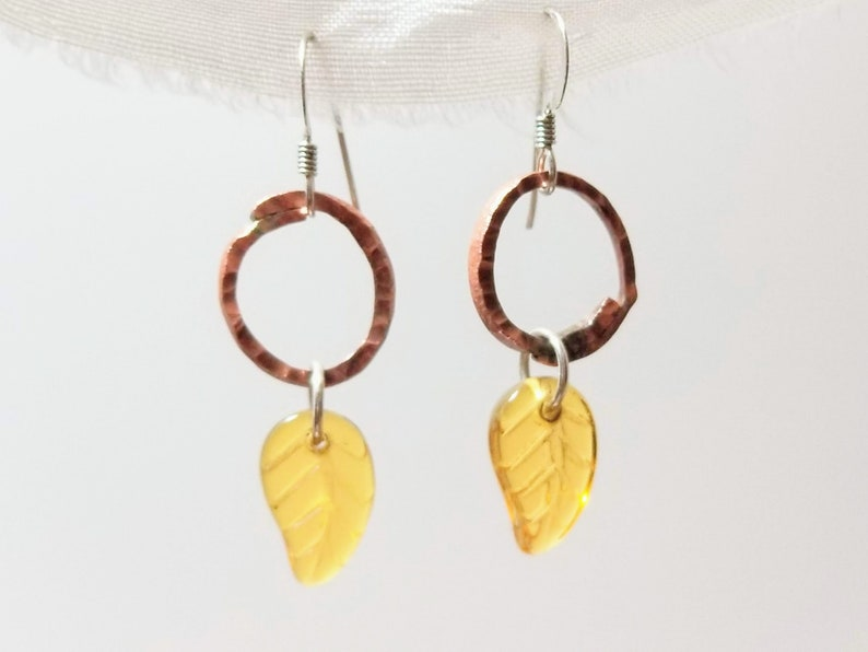 Dangling orb and leaf earrings in copper and brass image 0